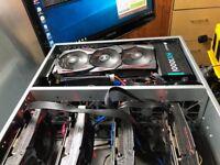 Cryptocurrency GPU Mining Rig – 5 x NVidia GTX 1070 – Bitcoin, ZCash, Ethereum