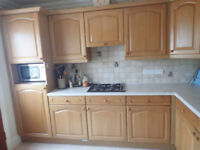 Complete, good quality oak kitchen for sale, available end of April, buyer to collect