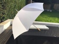 6 White wedding umbrellas (never been used - still individually boxed)