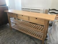 Large wooden butchers block kitchen island