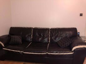 Black DFS Real Leather Sofa SET of 3 ( 3,2,1 seater)