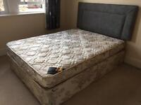 Free to Collect King Size Duvan Bed with Matress and Headboard