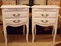 FRENCH STYLE SHABBY CHIC BEDSIDE TABLES PAINTED IN ANNIE SLOAN PURE WHITE