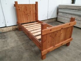 Pine Single 3ft Bed Frame Wooden Slats Headboard Footboard Used Bedroom Furniture