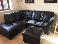 Black leather Corner sofa and storage pouffe