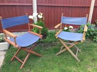 Pair of vintage folding Directors chairs. Camping fishing garden