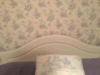 White shabby chic wooden double headboard