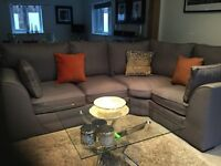 Silver grey corner sofa 90inx74in approx only 18 months old in exlent condition