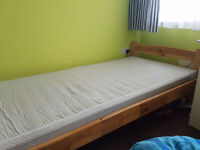 SINGLE WOODEN BED WITH MATTRESS + FREE DELIVERY