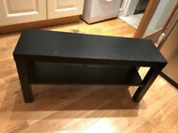 Black wooden tv stand.Hardly used in condition. H:45 cm D:27 cm L:90 cm £20 NO OFFERS.CAN DELIVER