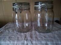 Two Large, Kilner Style, Glass Storage Jars