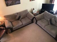 Dark beige and brown, Fabric and leather sofas, Excellent condition