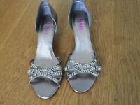 Diamante evening shoes, silver colour low heel, size 39/6. Jones Bootmaker.