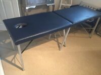 Marsh folding sports massage couch, fitted sheet & bolster