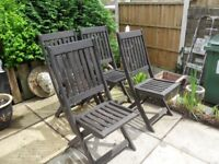 4 fold up type garden chairs - made of hardwood - in good condition