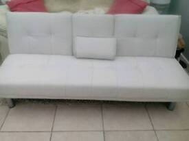 Thick quality leatherette ice white sofa bed