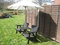 Nice Wooden Jack And Jill Garden Bench With Parasol.