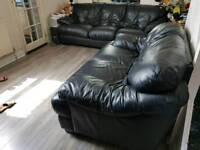 DFS real leather black sofa set 3+2 Rrp £2600