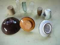 Small bottles, candleholder, dish etc.