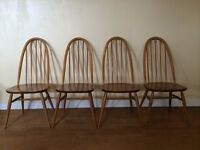 A SET OF FOUR 4 ERCOL QUAKER WOODEN DINING KITCHEN CHAIRS RETRO VINTAGE
