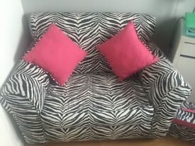 Zebra Print Loveseat/Armchair with matching Cushions