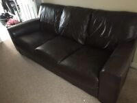 DFS Brown Leather Sofa Suite ( 1 yr old)