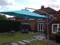 Cantilever garden umbrella turquoise blue