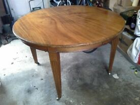 Round Light Solid Mahogany Table Extends with handle
