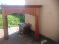 Mdf timber effect mantle piece.