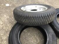 Trailer wheel plus 2 spare tyres 13 inch wheel is unused as is tyre