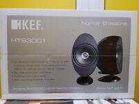 KEF Satelite Speakers, Centre Speaker & Subwoofer. Black