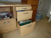 Beech desk drawers. Heavy quality. Not on wheels. 42cm wide x 62cm deep x 74cm high