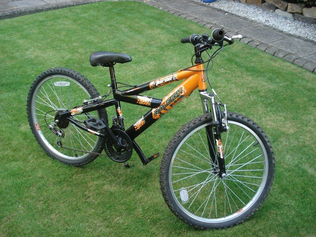 """Childrens Raleigh Force 18 speed bike with suspension forksin Wakefield, West YorkshireGumtree - Childrens Raleigh Force bike Some wear and tear (as you might expect..and highlighted in the pictures) but overall in good condition and new handlebar grips would be a cheap way of giving it a makeover! Importantly, the wheels are 24"""" Front fork..."""
