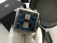 New Swiss Tag Heuer Monaco Leather Strap CHRONOGRAPH Watch