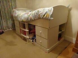 Child's white cabin bed