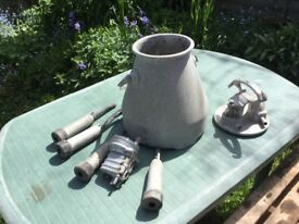 Old Aluminium milking pot and fittings vintage collectors item or garden display/pots etc