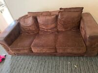 3 seater sofa and two chairs brown