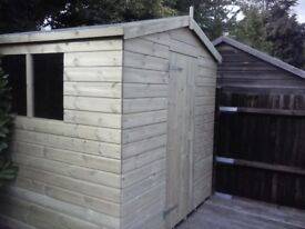 8 x 5 'BLACKFEN' NEW, ALL WOOD GARDEN SHED, T & G, TREATED, £495 INC DELIVERY & INSTALLATION