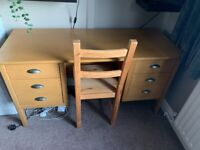SIX DRAWER DESK AND CHAIR