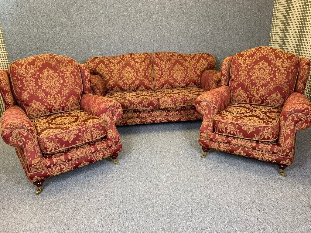 Admirable Kirkdale 3 Piece Suite High Wing Back Sofa 2 Armchairs Red Gold Delivery Available In Winterton Lincolnshire Gumtree Onthecornerstone Fun Painted Chair Ideas Images Onthecornerstoneorg