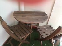 Small half round slat table and 2 matching chairs