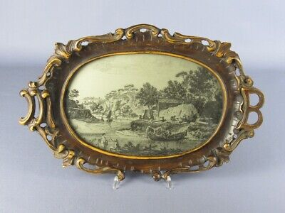 Vintage Tray Decorative Oval with Frame Wood & Initial Period Xx Century