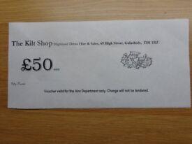 £50 Kilt Hire Voucher