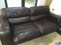 CHOCOLATE BROWN LEATHER SOFA AND MATCHING ARMCHAIR - FREE DELIVERY TONIGHT SOME AREAS - £195