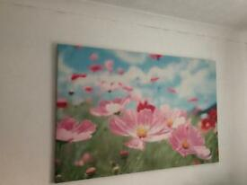 Pink flower canvas picture