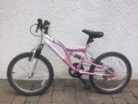 Childs bicycle, suit age 5-9, mountain bike, pink and white, 6 gears