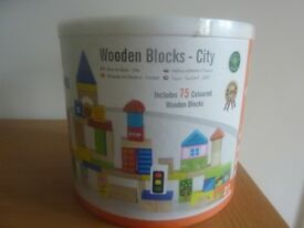 Tub of Wooden Building Blocks