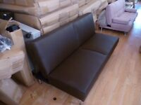 Black Supra 3 Seater Brand New Faux Leather Sofa Bed (Free Local Delivery)