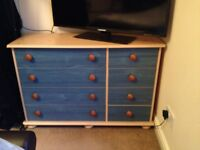 Children's Matching Wardrobe + Chest of Drawers Blue / Natural Wood