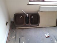 Two and a hlf bowl kitchen sink with tap